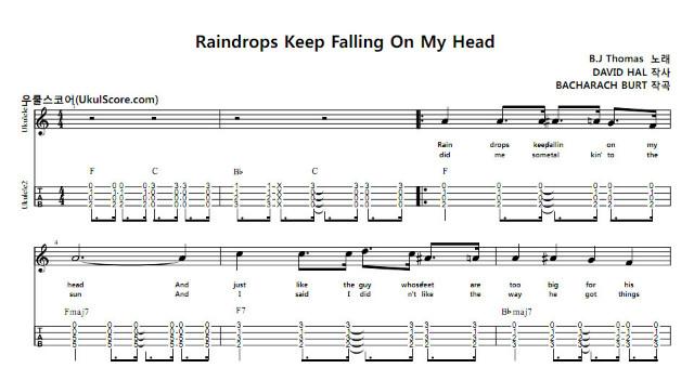 raindrops keep falling on my head score pdf